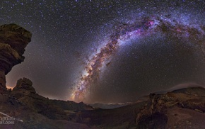 Milky Way, sky, landscape, rock formation, Canary Islands, night