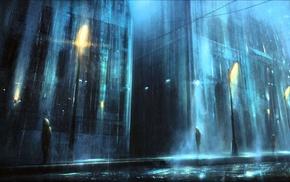 depressing, lantern, night, rain, street, dark