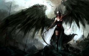 dark, helmet, scythe, wings, spear, Reapers
