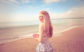 smiling, model, beach, long hair, dress, blonde