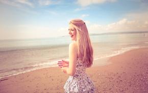 улыбка, модель, пляж, длинные волосы, платье