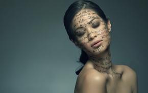 девушка, брюнетка, модель, закрытые глаза