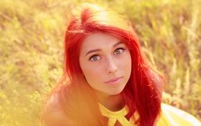 девушки на открытом воздухе, зеленые глаза, рыжие