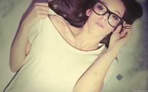 girl, glasses, brunette, girl with glasses