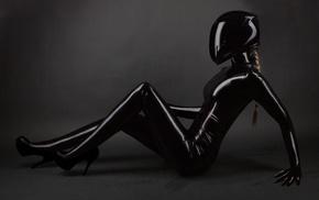 helmet, leather, blonde, high heels