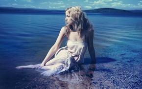 белое платье, девушки на открытом воздухе, девушка, блондинка