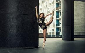 девушка, серый, спортсменка, балерина, активистка, дом
