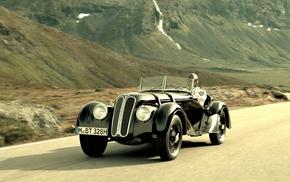 cars, BMW, mountain, path, black