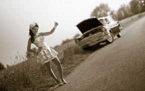retro, road, girl, auto, stunner