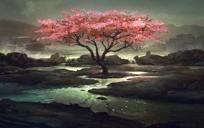painting, tree, lake, stunner