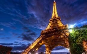 Эйфелева башня, небо, города, свет, Париж, деревья
