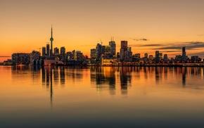 skyline, Canada, sunset, cityscape, reflection, water