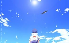 eagle, anime, Naruto Shippuuden, Uchiha Sasuke, clouds