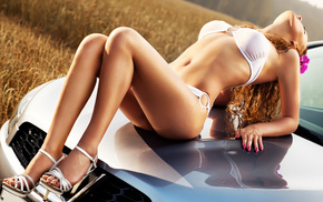 nature, girl, field, automobile, red hair