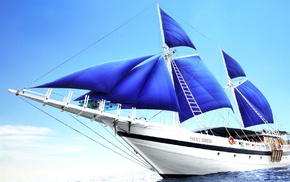 ocean, sky, wind, sailfish, ship