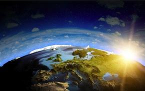 Украина, Альпы, 3d, Европа, космос, солнце