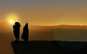 cliff, silhouette, lens flare, Uchiha Madara, Naruto Shippuuden, Tobi
