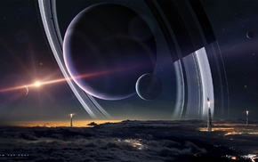 planet, moon, planetary rings, spacescapes, space