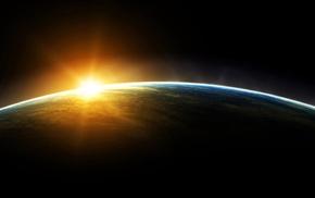 sunrise, space, Earth, planet
