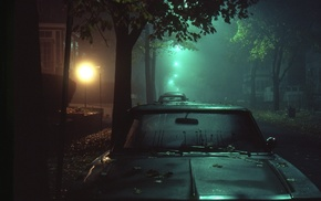 car, night, street, street light