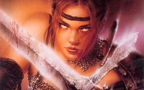 sword, fantasy art, Luis Royo, girl