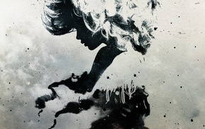 girl, silhouette, Alex Cherry, abstract, paint splatter