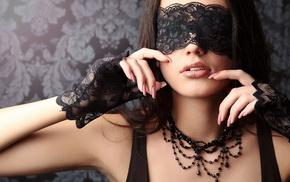 girl, model, blindfold, face