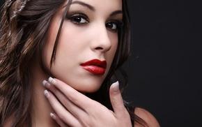 красная помада, брюнетка, девушка, модель, простой фон