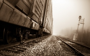 depth of field, train, railway, sepia