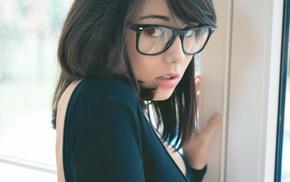 girl with glasses, Laura Baduria, model, girl, brunette