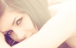 брюнетка, модель, девушка, простой фон, лицо