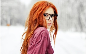 glasses, face, redhead, curly hair