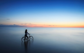 Latvia, sea, sunset, bicycle, girl outdoors