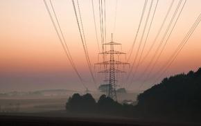 utility pole, mist, power lines, landscape
