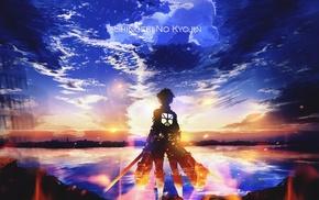 anime boys, anime, sunset, Shingeki no Kyojin, Eren Jeager