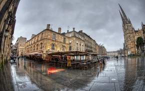 church, France, reflection, cityscape, wet, building
