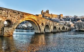 cityscape, bridge, snow, HDR, building, river