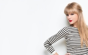 blonde, white background, singer, red lipstick, striped clothing, celebrity