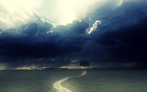 path, rain, clouds, dirt road, field, landscape