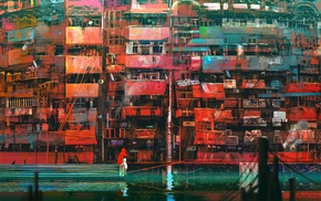 balconies, Kuldar Leement, artwork, city