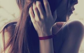 лицо, длинные волосы, брюнетка, девушка
