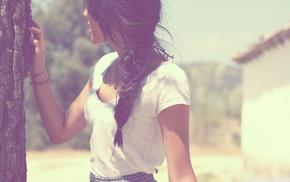 natural lighting, hiding, trees, girl, braids, brunette