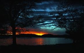 закат, природа