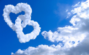 white, love, clouds, background, hearts