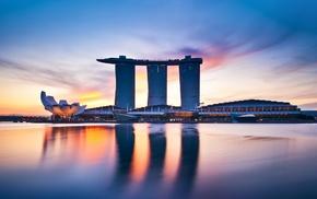архитектура, городской пейзаж, закат