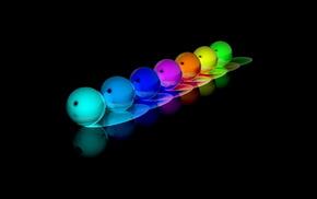 reflection, 3D, rainbow, balloons