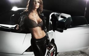 black, auto, figure, posing, Lamborghini