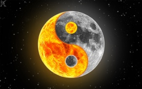 Yin and Yang, moon, stars