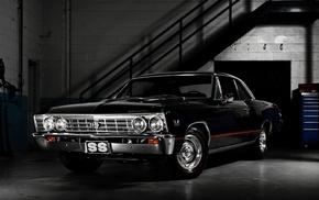 gray, garage, cars, background, retro
