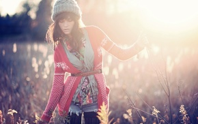 sunlight, woolly hat, girl outdoors, long hair, sweater